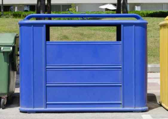 contenedor azul para papel y carton